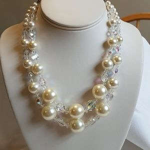 Vintage 1950s Double Strand Necklace Crystal White